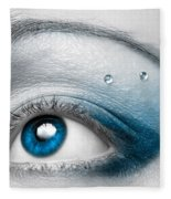 Blue Female Eye Macro With Artistic Make-up Fleece Blanket