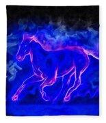 Blue Fire Horse - Da Fleece Blanket