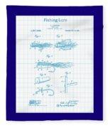 Blue Fishing Lure Patent Fleece Blanket