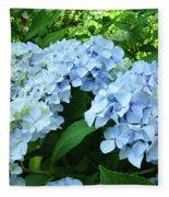 Blue Floral Hydrangea Flower Summer Garden Basle Troutman Fleece Blanket