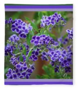 Blue Flowers With Colorful Border Fleece Blanket