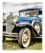 Blue Ford Model A Car Fleece Blanket