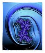Blue Fractal Art Curved And Elegant Fleece Blanket