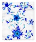 Blue Fractal Flowers Fleece Blanket
