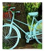 Blue Garden Bicycle Fleece Blanket