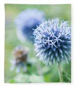 Blue Globe Thistle Flower Fleece Blanket