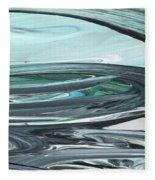 Blue Gray Brush Strokes Abstract Art For Interior Decor V Fleece Blanket