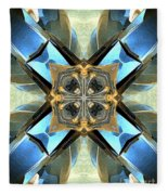 Blue, Green And Gold Abstract Fleece Blanket