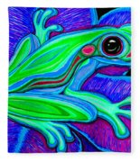 Blue Green Frog Fleece Blanket