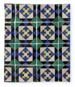 Blue Green Lisbon Tiles Souvenirs Fleece Blanket