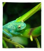 Blue-green Tropical Frog Fleece Blanket