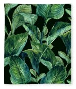 Blue Green Watercolor Tropical Leaves Fleece Blanket