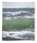 Blue Green Waves Fleece Blanket