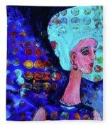 Blue Haired Girl On Windy Day Fleece Blanket