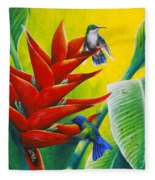 Blue-headed Hummingbirds And Heliconia Fleece Blanket