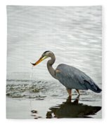 Blue Heron Fishing Fleece Blanket