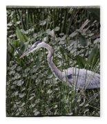 Blue Heron In Grass 4566 Fleece Blanket