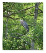 Blue Heron In Green Tree Fleece Blanket