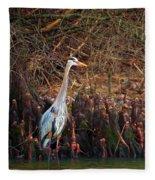 Blue Heron In The Cypress Knees Fleece Blanket