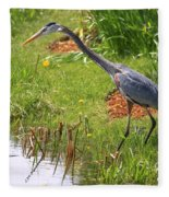Blue Heron Scene Fleece Blanket
