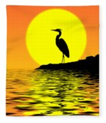 Blue Heron Sunset Fleece Blanket