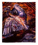 Blue Heron Swirl Fleece Blanket