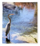 Blue Heron With Shadow Fleece Blanket