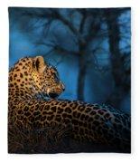 Blue Hour Leopard Fleece Blanket