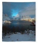 Blue Hour Over Reine Fleece Blanket