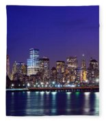 Blue Hour Panorama New York World Trade Center With Freedom Tower From Liberty State Park Fleece Blanket by Raymond Salani III