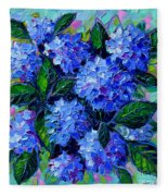 Blue Hydrangeas - Abstract Floral Composition Fleece Blanket