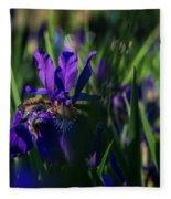 Blue Iris Field  Fleece Blanket