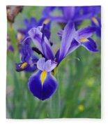 Blue Iris Flower Fleece Blanket