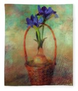 Blue Iris In A Basket Fleece Blanket