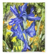 Blue Iris Painting Fleece Blanket