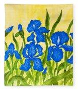 Blue Irises Fleece Blanket