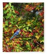 Blue Jay And Berries Fleece Blanket