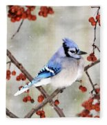 Blue Jay In Snowfall 3 Fleece Blanket