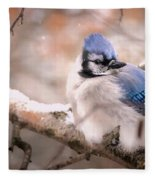 Blue Jay In Winter Fleece Blanket