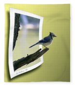 Blue Jay Perched Fleece Blanket