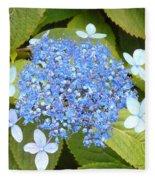 Blue Lacecap Hydrangeas Fleece Blanket