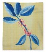 Blue Leaves And Berries Fleece Blanket