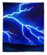 Blue Lightning Above The Ocean Fleece Blanket