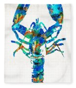 Blue Lobster Art By Sharon Cummings Fleece Blanket