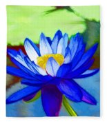 Blue Lotus Flower Fleece Blanket