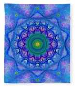 Blue Mandala For Heart Chakra Fleece Blanket