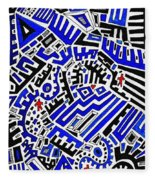 Blue Maze Fleece Blanket