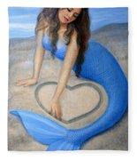 Blue Mermaid's Heart Fleece Blanket