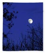 Blue Moon Among The Tree Tops Fleece Blanket