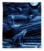 Blue Moon Wolf Pack Fleece Blanket